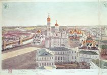 Panorama of Moscow, detail of the Kremlin cathedrals by Gadolle