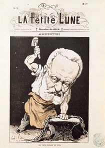 Caricature of Victor Hugo from the front cover of 'La Petite Lune' by Andre Gill