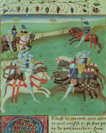 Ms 527 f.5v Teaching Knights to Joust von French School