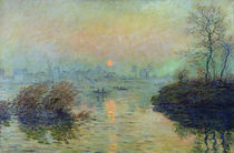 Sun Setting over the Seine at Lavacourt. Winter Effect by Claude Monet