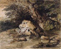 A Hilly Landscape with Figures Approaching a Bridge von Thomas Gainsborough