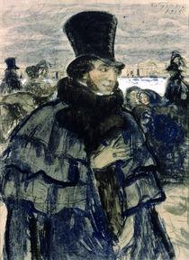 Portrait of Alexander Pushkin on the Neva Embankment von Boris Mikhailovich Kustodiev