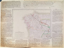 Map of Galicia with the route of the French army and a log von French School