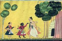 Rama and Lakshmana accompanied by Visvamitra by Indian School