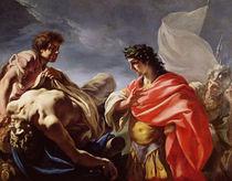 Achilles Contemplating the Body of Patroclus von Giovanni Antonio Pellegrini