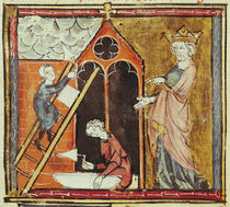 F.235v King Louis VI Watching the Construction of a Church von French School