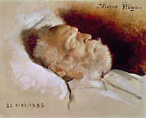 Portrait of Victor Hugo on his deathbed von Leon Daniel Saubes