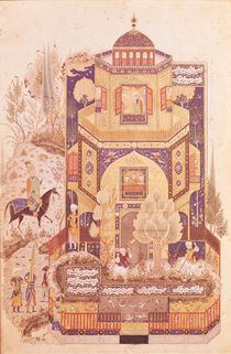 Khusrau in front of the Palace of Shirin by Islamic School