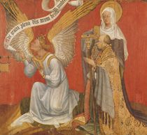 Panel from a diptych depicting the Angel of the Annunciation by Master of the Rohan Hours