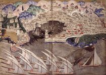 The Ottoman Fleet Blocking the Port of Marseille in 1543 by Nasuh Al-Silahi