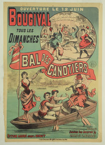 Poster advertising 'Le Bal des Canotiers' at Bougival by French School
