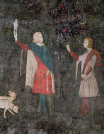 Detail of two falconers, from the Stag Room by French School