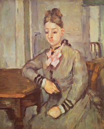 Madame Cezanne Leaning on a Table von Paul Cezanne