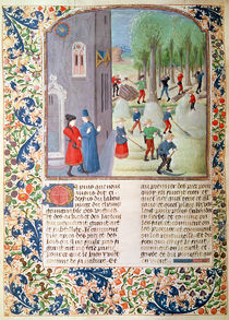 Ms 5064 fol.198v Cutting Trees and Harvesting by French School