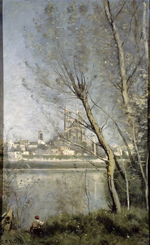 Mantes, View of the Cathedral and Town through the Trees von Jean Baptiste Camille Corot