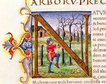 Historiated Initial 'N' depicting a man hewing trees by Italian School