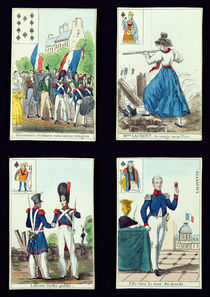 Selection of playing cards relating to the 1830 Revolution von French School
