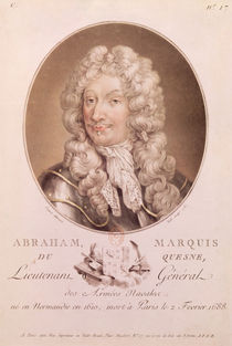 Portrait of Abraham Duquesne engraved by Ride by French School