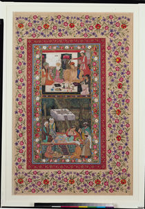 Ms E-14 Reading Verse and a Banquet in a Garden from a Moraqqa by Indian School