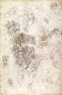 Study of figures for 'The Last Judgement' with artist's signature by Michelangelo Buonarroti