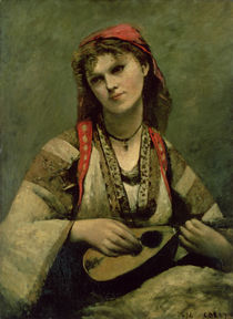 Christine Nilson or The Bohemian with a Mandolin von Jean Baptiste Camille Corot
