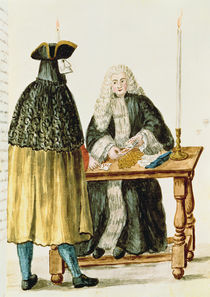 A Magistrate Playing Cards with a Masked Man