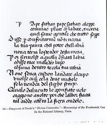 Fragment of Dante's 'Divina Commedia' by Italian School