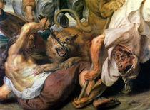 Lion Hunt, detail of two men and a lion von Peter Paul Rubens
