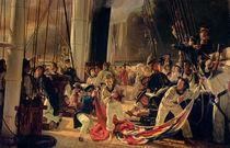 On the deck during a sea battle von Francois Auguste Biard