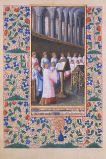 Ms Lat. Q.v.I.126 f.77v Illustration of a funeral service by Jean Colombe