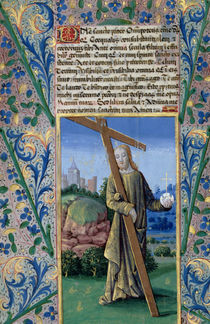Ms Lat. Q.v.I.126 f.89v Christ with the Cross and the orb by Jean Colombe