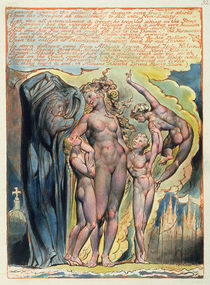 'Leaning Against the Pillars...' von William Blake