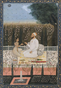 Couple on a Terrace in a Garden by Indian School