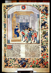 Ms 5064 fol.1r The Author Presenting his Book to the Peasants von French School