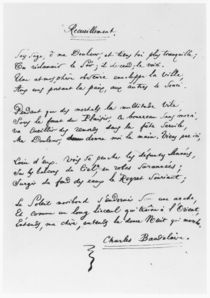 'Recueillement', signed sonnet by Charles Pierre Baudelaire