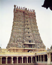 View of the carved exterior of the south gopuram by Indian School