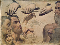 Study of Heads and Hands for the Apotheosis of Homer von Jean Auguste Dominique Ingres