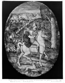 Hunting, portrait presumed to be Henri II and Diane de Poitiers by Leonard Limosin