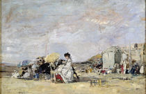 Woman in White on the Beach at Trouville von Eugene Louis Boudin