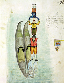 Three men balancing on two gondolas von Italian School