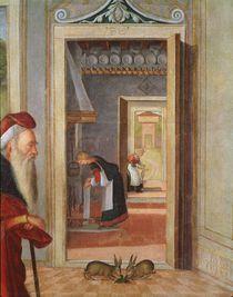 The Birth of the Virgin, detail of servants in the background von Vittore Carpaccio