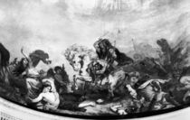 Attila the Hun and his hordes overrunning Italy and the Arts by Ferdinand Victor Eugene Delacroix