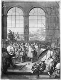 Louis XIV and his Entourage visiting the Royal Academy of Sciences von Sebastien I Le Clerc
