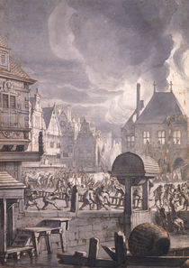 Fire at the Old Town Hall in Amsterdam von Jan van der Heyden