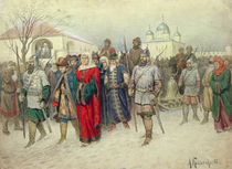 Joining of Great Novgorod, Novgorodians Departing to Moscow, 1880 by Aleksei Danilovich Kivshenko