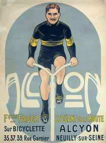 Poster depicting Francois Faber on his Alcyon bicycle by French School