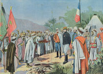 General Lyautey receiving the surrender of a rebel tribe in Morocco von French School