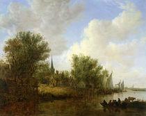 River scene with a View of Overschie von Jan Josephsz. van Goyen
