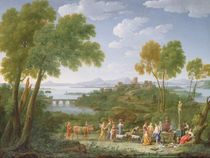 An Extensive Italianate Landscape with a Sacrifice von Hendrik van Lint