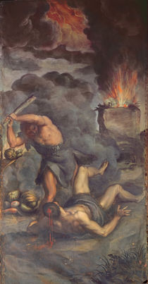 Interior of organ panel door depicting Cain and Abel by Palma Il Giovane